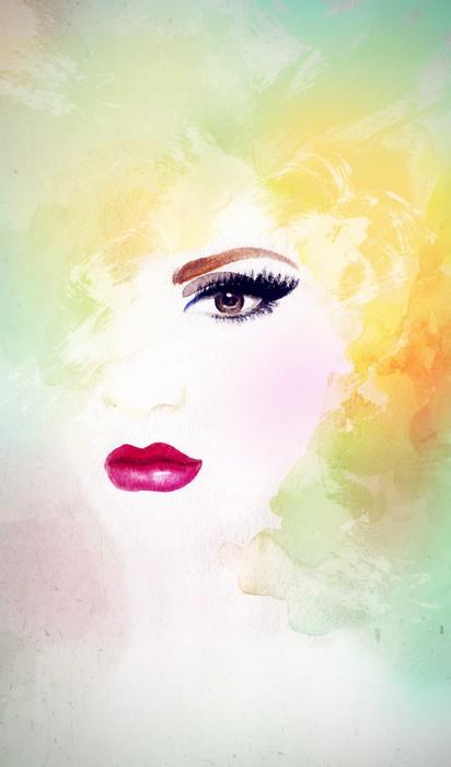 Vinylová Tapeta Portrét ženy .abstract akvarel .fashion pozadí - Žena