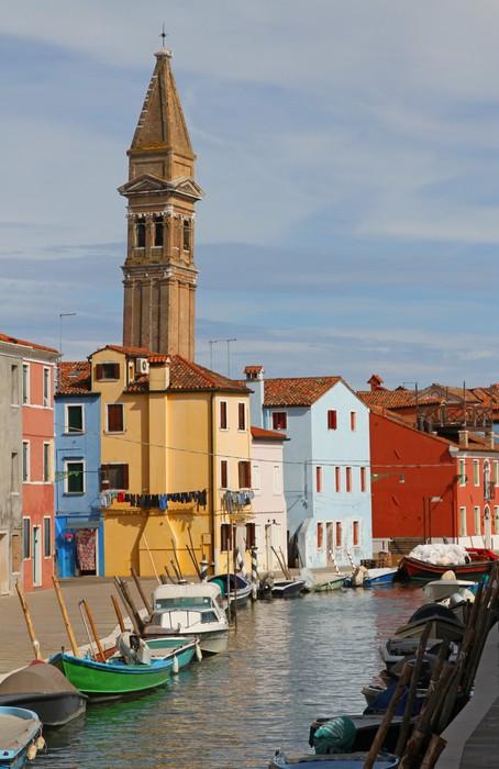 Vinylová fototapeta Kostelní věž Burano blízko Benátek v Itálii - Vinylová fototapeta