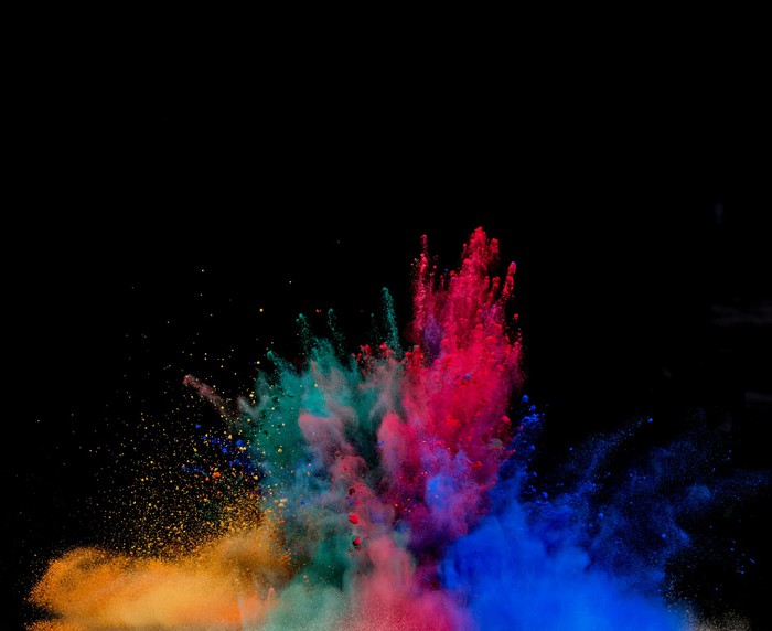 Papier peint couleur explosion de poussi re sur fond noir for Papier peint pour pc
