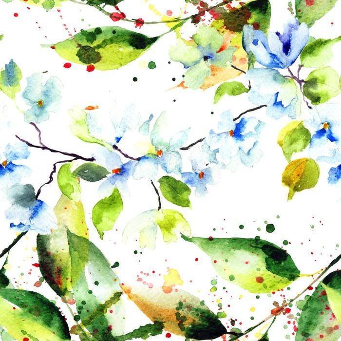 Carta da parati spring seamless con fiori pixers for Carta da parati con fiori