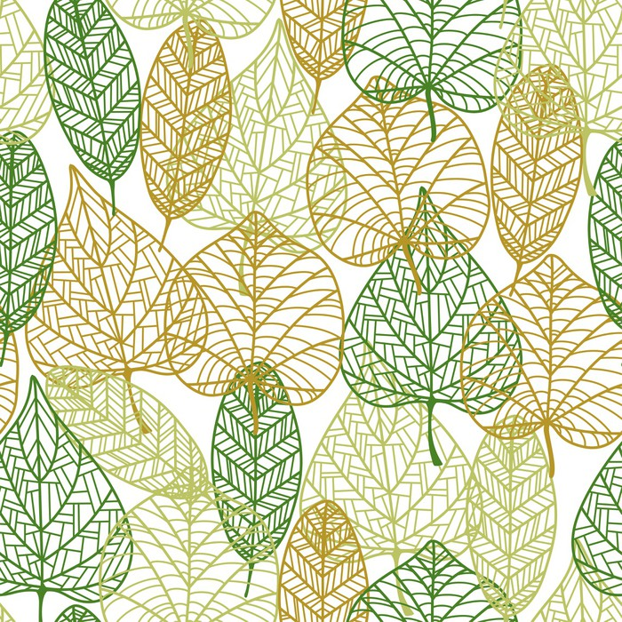 Seamless Pattern Of Outline Autumnal Leaves Wall Mural