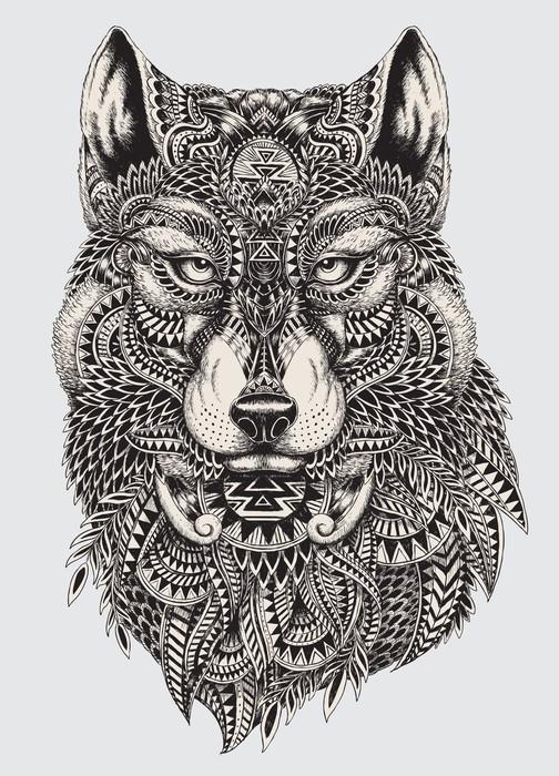 Papier Peint Vinyle Très résumé détaillé loup illustration - Styles