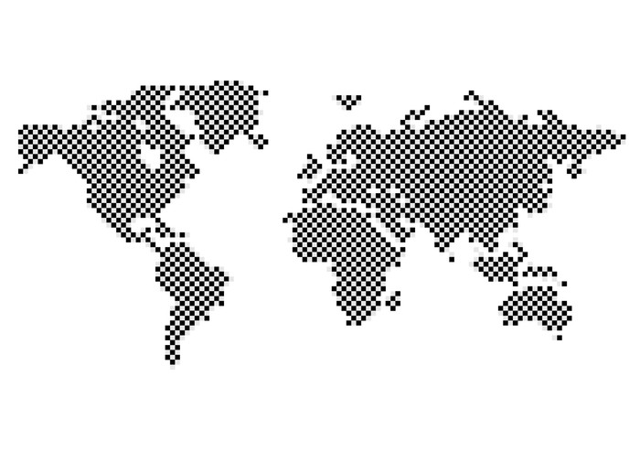 black checkered map of the world