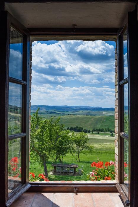 Cuadro en Lienzo Toscana paisaje desde la ventana • Pixers