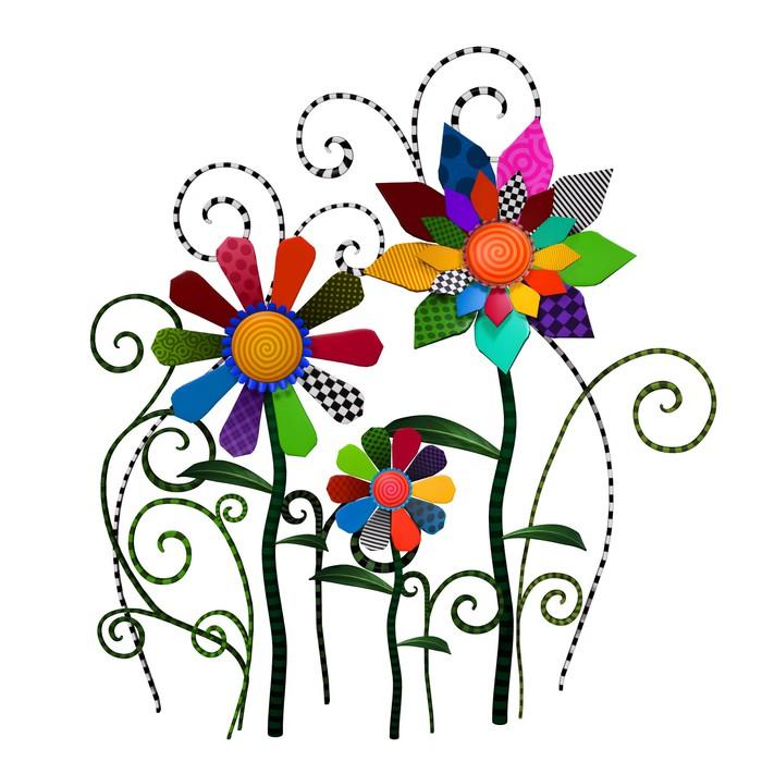 Vinylová Tapeta Fantasy patchwork květiny ilustrační - Umění a tvorba