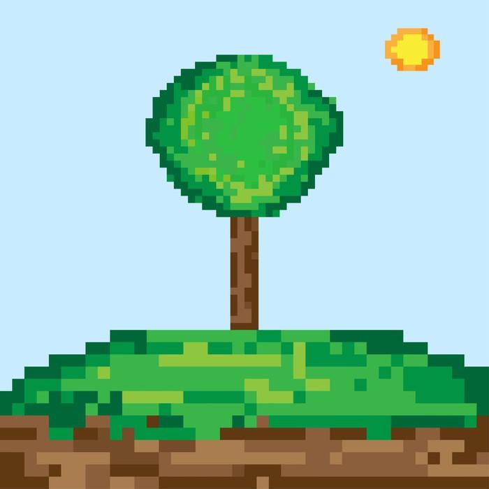 Vinylová Tapeta Pixel umění strom - Roční období