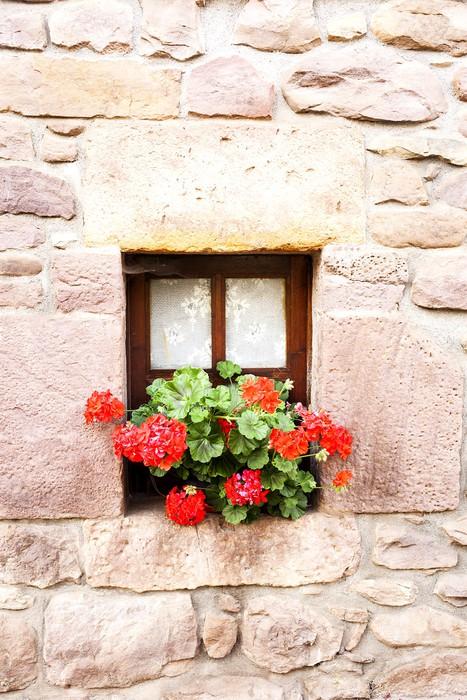 Tableau sur toile fen tre avec des rideaux et des fleurs for Fenetre qui rentre dans le mur