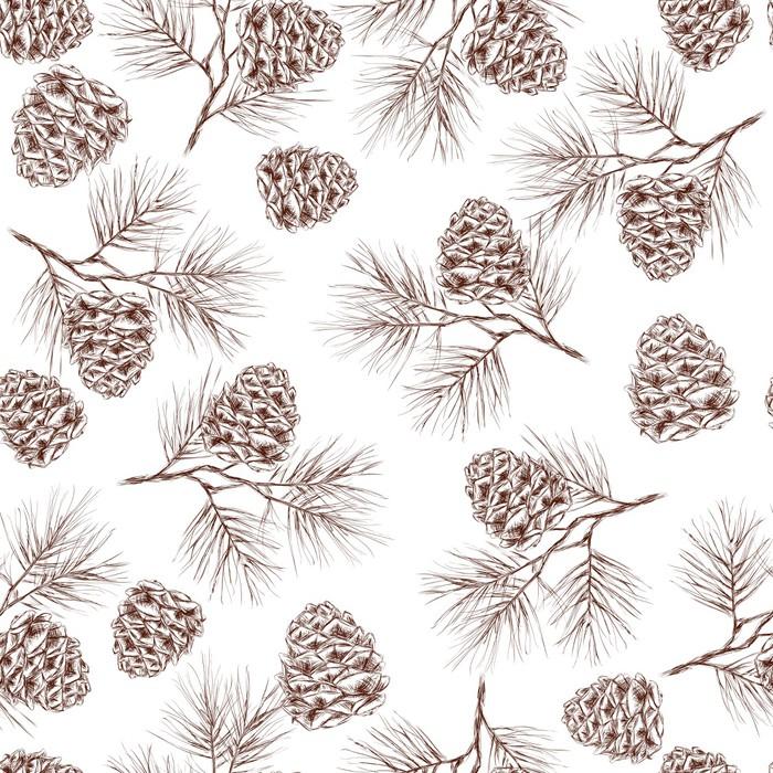 Nálepka Pixerstick Borových větví bezešvé vzor - Květiny