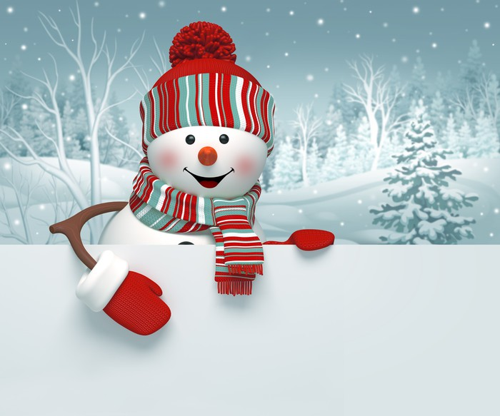 3d snowman, Christmas banner, winter background Wall Mural ...