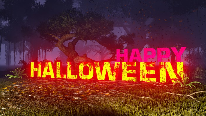 Vinylová Tapeta Zářící Halloween text v temném lese 3 - Mezinárodní svátky