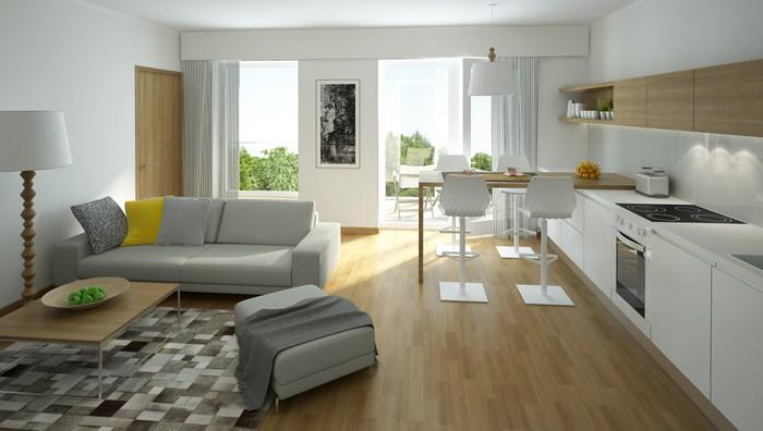 Carta da Parati Rendering di un moderno soggiorno con cucina a vista ...