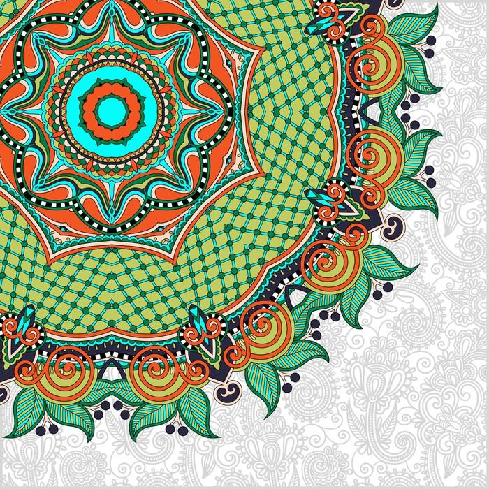 Vinylová Tapeta Květinový vzor kolo v ukrajinských orientálním stylu pro svůj etnický - Obchody