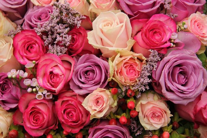 Vinylová Tapeta Fialové a růžové růže svatební uspořádání - Slavnosti