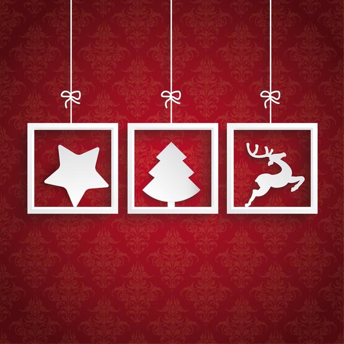 Fototapete Roter Hintergrund Ornaments 3 Frames Weihnachten • Pixers ...
