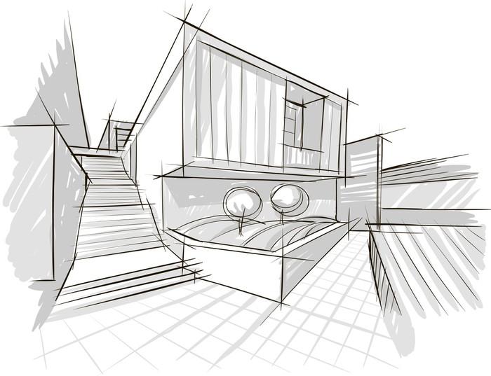 Fototapete architektur skizze pixers wir leben um zu - Architektur skizze ...