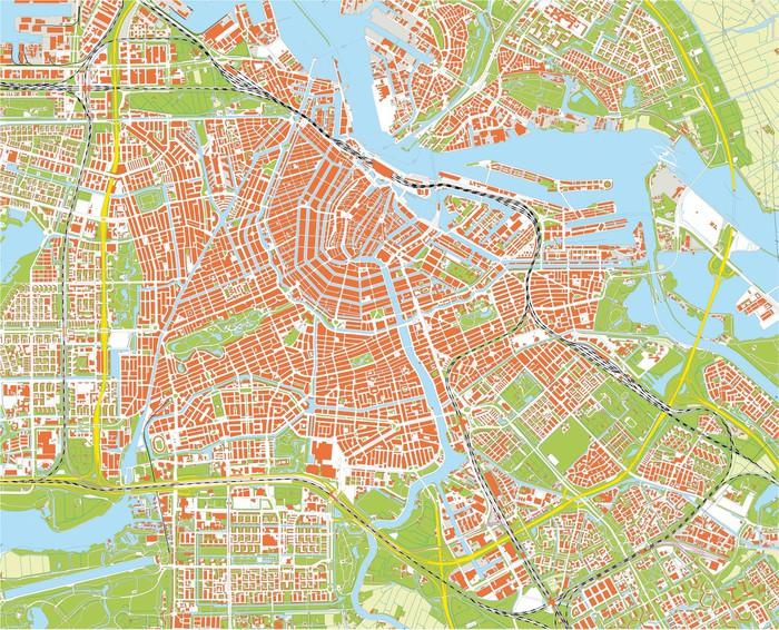 Carta da parati mappa della citt di amsterdam pixers for B b ad amsterdam centro