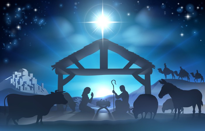 Christmas Nativity Scene Wall Mural   Vinyl   Christmas Part 60