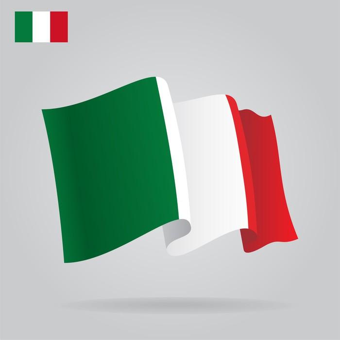 Flat And Waving Italian Flag Vector Wall Mural Pixers We Live