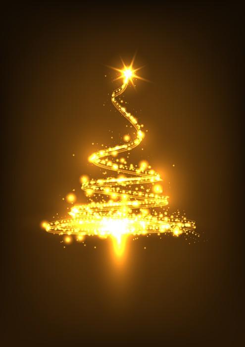 Vinylová Tapeta Weihnachtsbaum, abstrakt, glühend, funkelnd, Xmas, Tree, Funken - Pohlednice