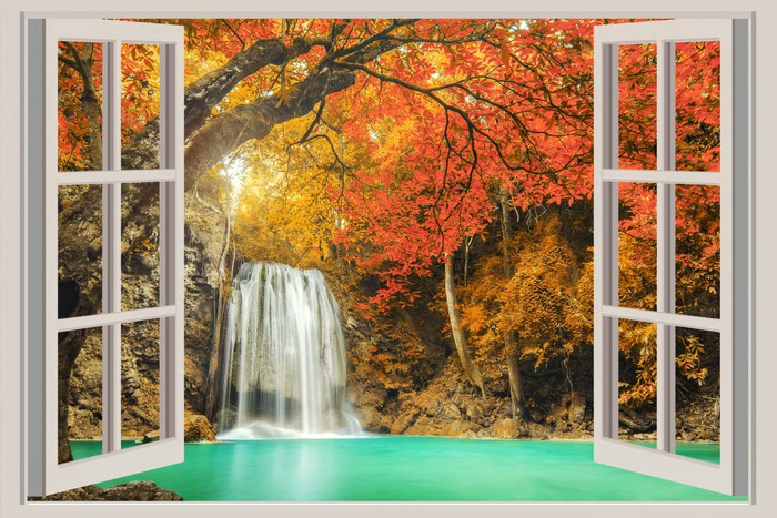 The Open Window With Waterfall Views Wall Mural Pixers