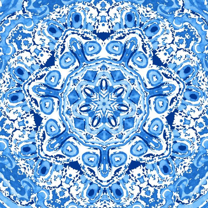 Vinylová Tapeta Akvarel gzhel. Ubrousek kolo krajky vzor, kruh pozadí wi - Pozadí