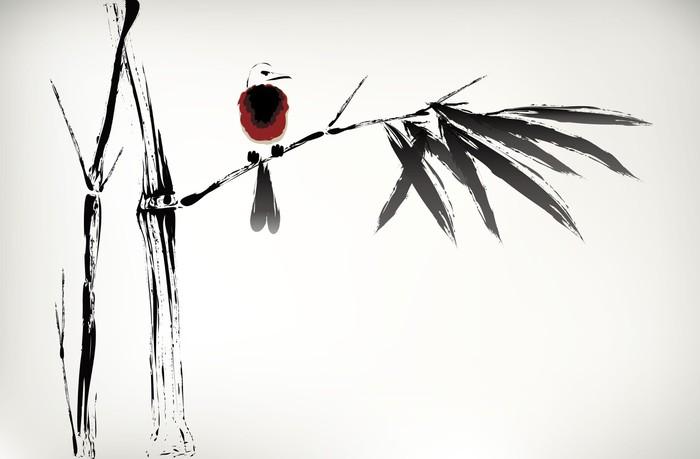 Vinylová Tapeta Inkoust maloval bambus - Styly