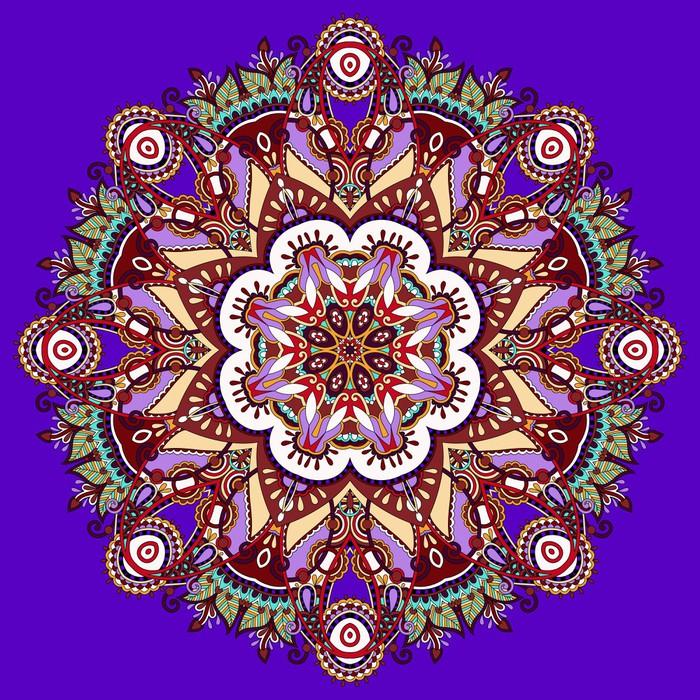Violet Colour Mandala Vinyl Wall Mural