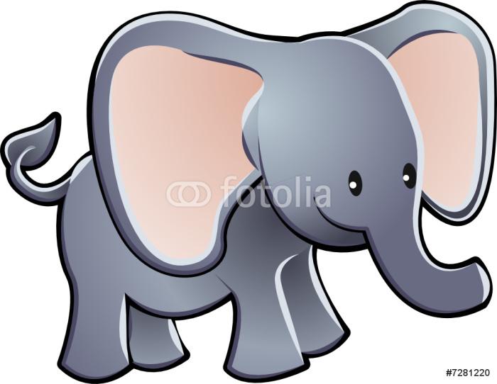 Lovable Elephant Cartoon Vector Illustration Sticker - Pixerstick - Wall decals