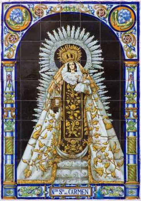 Vinylová Tapeta Sevilla - keramická dlažba Madonna (Nostra Senora del Carmen) - Cestování