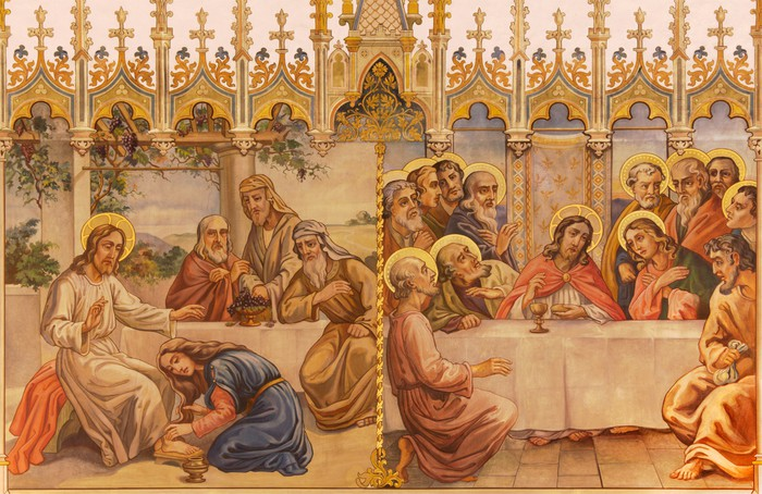 Frescos Last supper and Jesus and sinful woman Wall Mural Pixers