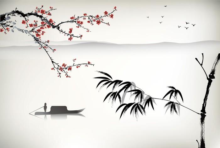 Carta da parati pittura di paesaggio cinese pixers for Carta da parati cinese