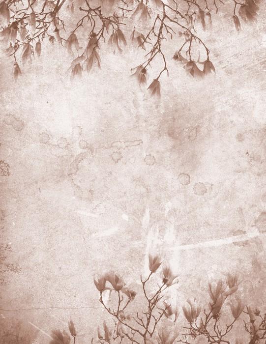 Tableau sur Toile Magnolia papier vintage - Thèmes