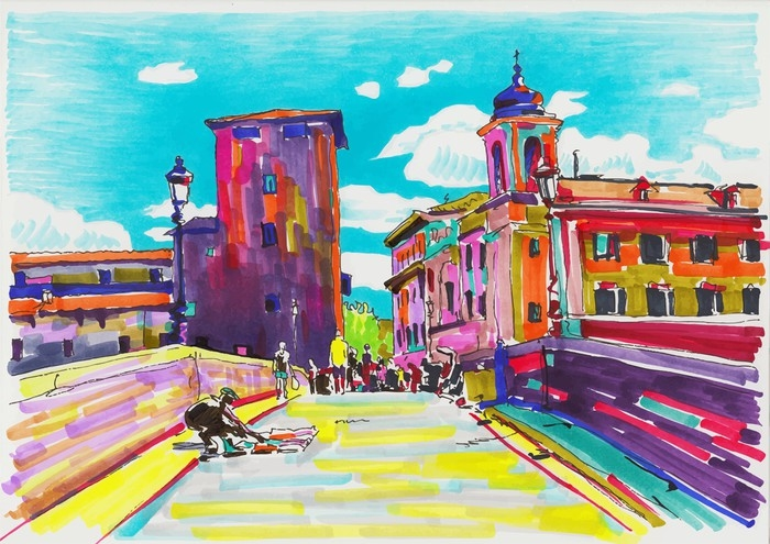 original marker painting of rome italy cityscape wall mural pixers