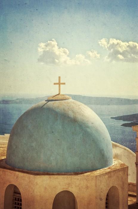 Vinylová Tapeta Vintage kostel a panorama - Santorini Řecko - Prázdniny