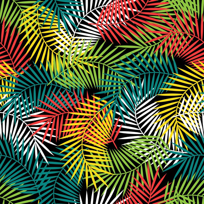 Seamless Tropical Pattern With Stylized Coconut Palm