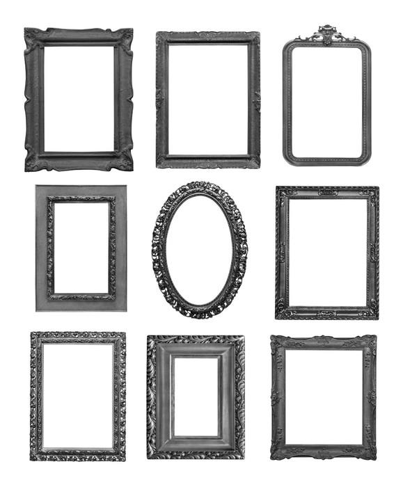 Quadro su tela vintage cornici nere su sfondo bianco for Cornici nere per foto
