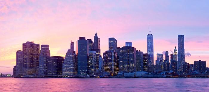 Sticker new york city usa downtown manhattan au coucher - Coucher du soleil new york ...