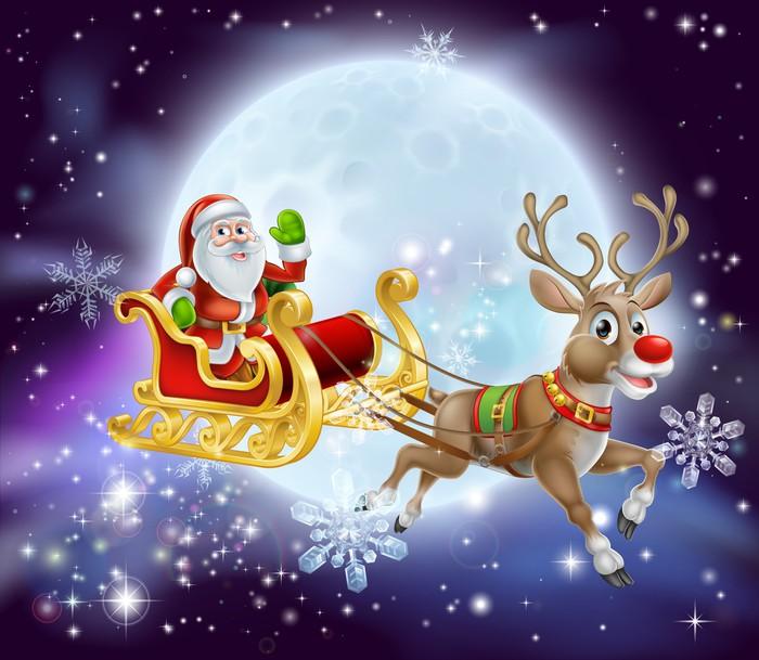 Santa Christmas Sleigh Moon Wall Mural Pixers We live to change