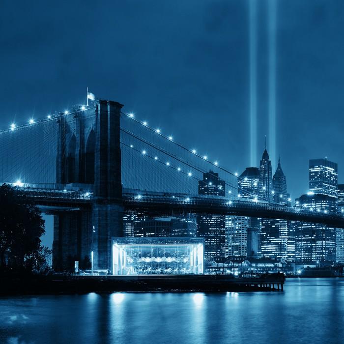 Poster ville new york nuit pixers nous vivons pour for Ville a new york