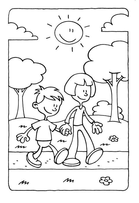 Vinilo Pixerstick Página para colorear de un niño y una niña ...