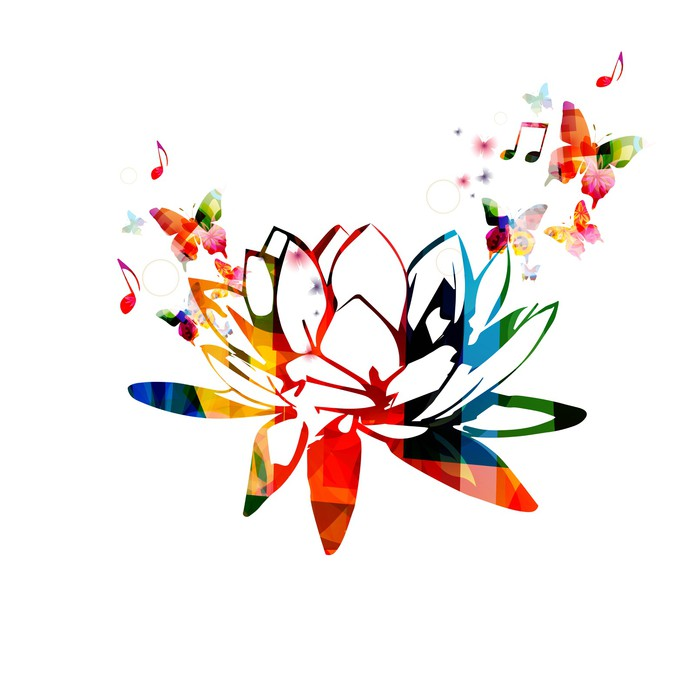 Colorful lotus flower design wall mural pixers we live to change colorful lotus flower design vinyl wall mural lifestylegtbody care and beauty mightylinksfo