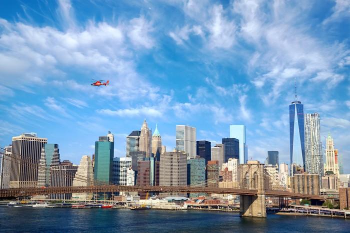 Vinylová fototapeta Brooklyn Bridge a Dolní Manhattan panorama, New York City - Vinylová fototapeta