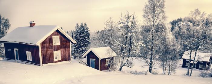Old Rural Cottages In A Snowy Winter Landscape Sweden Vinyl Wall Mural