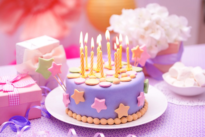 Delicious Birthday Cake On Table On Bright Background Sticker