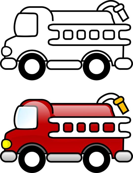 Fotomural Ilustración para colorear - Camión de Bomberos • Pixers ...