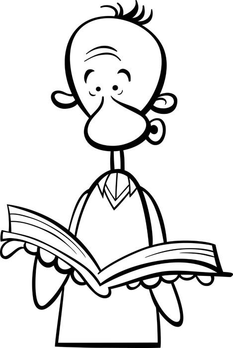 Fototapete Mann mit Buch Cartoon Malvorlagen • Pixers® - Wir leben ...