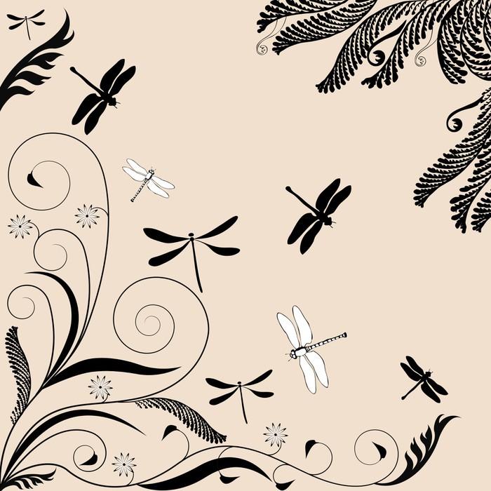 Vinylová Tapeta Květinový ornament s vážky - Asie