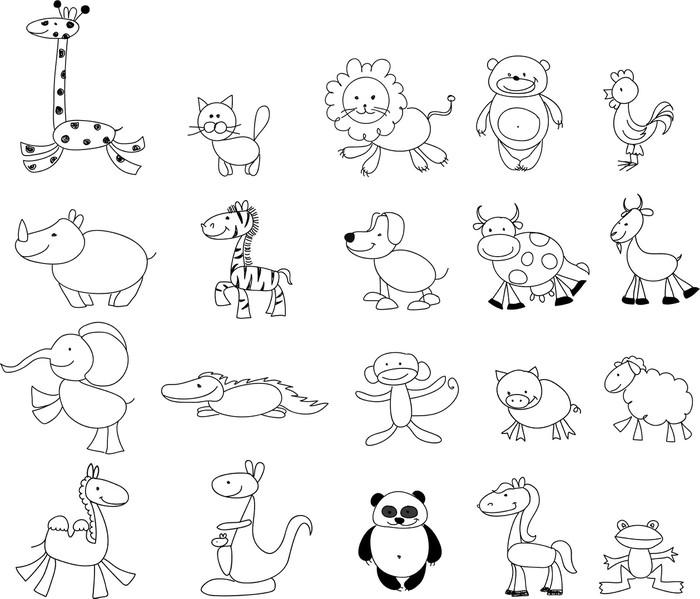 fototapeta rysunki dzieci doodle zwierz u0105t  u2022 pixers
