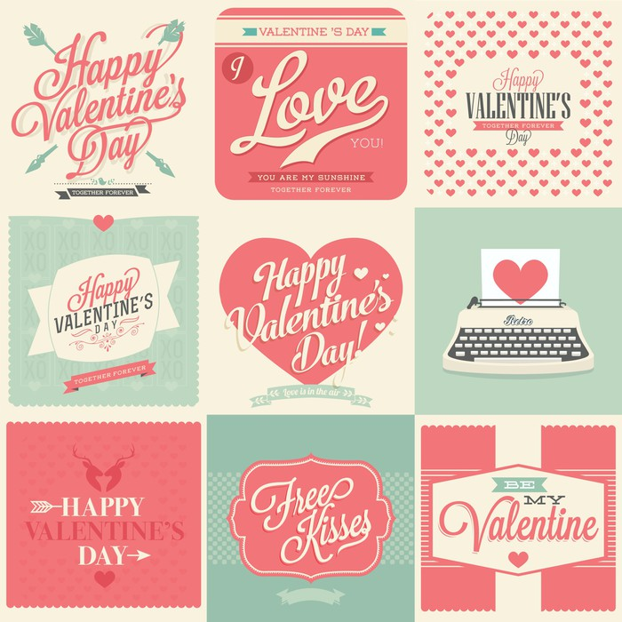 happy valentines day vintage retro cards Vinyl Wallpaper - Backgrounds