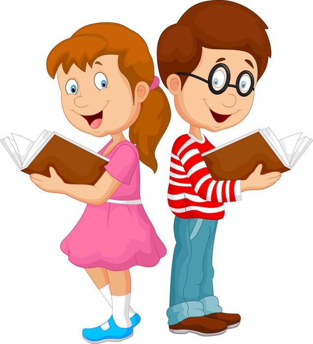 Fotomural ni os de dibujos animados libro de lectura for Foto di un libro